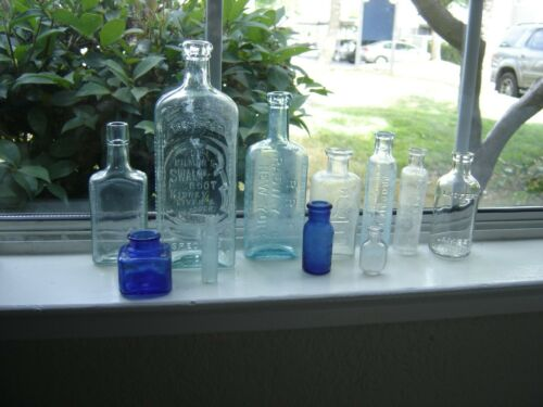 Lot of 11 Antique Apothecary Medicine Bottles Most Embossed