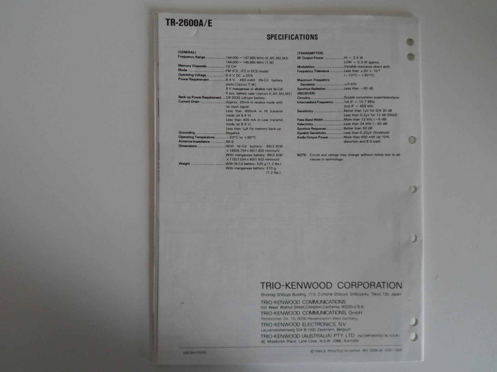 kenwood tr 2600a e genuine service manual only. Black Bedroom Furniture Sets. Home Design Ideas