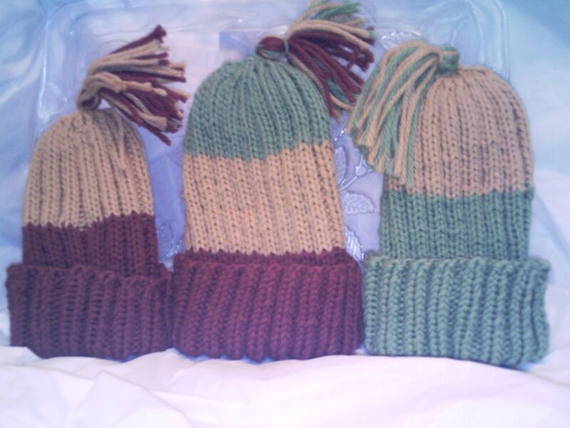 Handmade 100% wool knitted hats for women or teens