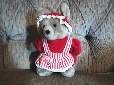 Vintage Dakin Plush Grey Mouse Christmas grandma ms claus - Ms Clause Outfit