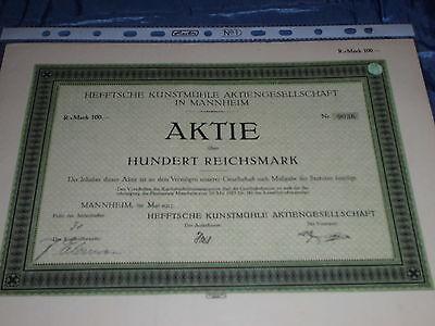 396 : histor. Wertpapier / Aktie , Heftsche Kunstmühle , Mannheim Mai 1925