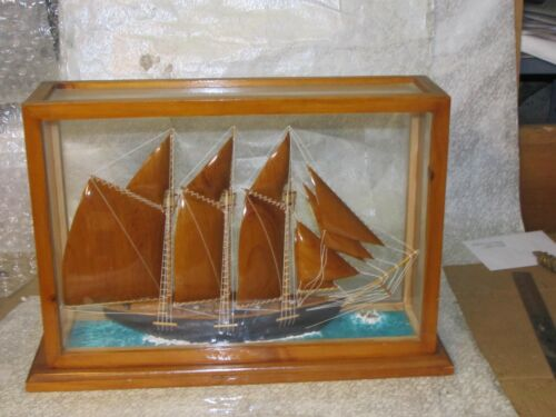 Large Wooden Schooner Ship Model With Rigging Mounted Glass Case Handmade