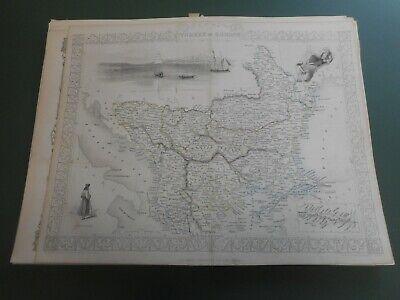 100% ORIGINAL LARGE TURKEY IN EUROPE MAP BY J TALLIS C1858 VGC ORIGINAL COLOUR