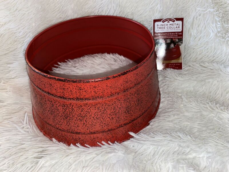 """Christmas Tree Collar Metal Antique Red Country Farmhouse Rustic 9"""" Small Tree"""