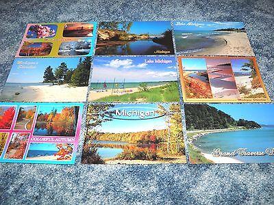 Lot 9 Postcards of Michigan Water Scenes Lakes Grand Traverse Bay etc - Postcard