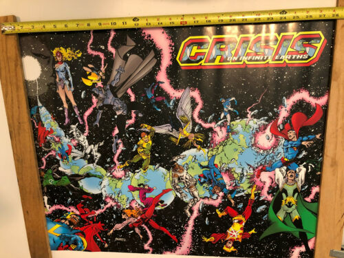"Vintage Crisis on Infinite Earths Poster 22"" x 28""  DC Comics Promo George Perez"