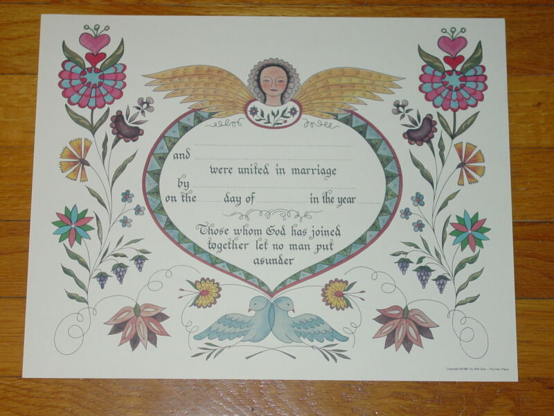 PA Dutch AMISH FRAKTUR  WEDDING ANNOUNCEMENT  Hearts  Flowers  14x11  BLANK  NEW