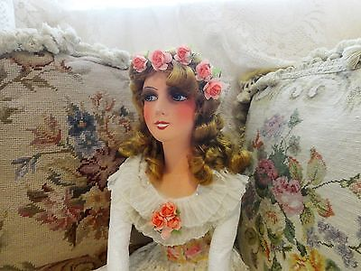 ANTIQUE 34 IN FRENCH RARE SMILER BOUDOIR DOLL LACE RUFFLES PINK ROSES