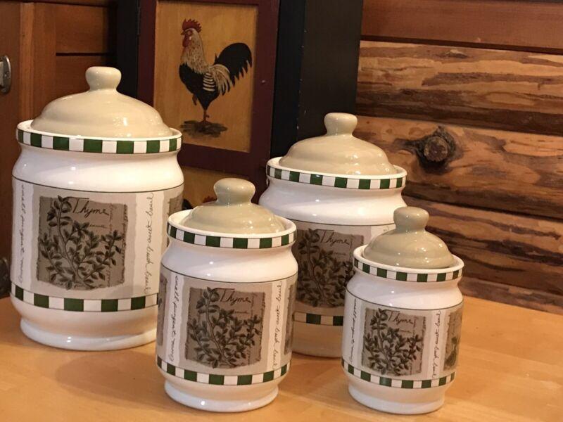Vintage (1990s) Himark Savory Tyme Ceramic vacuum-seal canisters. 4 Piece Set