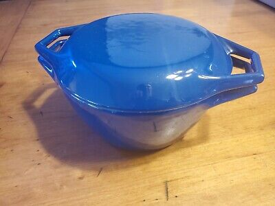 Vintage Copco Blue Enamel Cast Iron Covered Dutch Oven Pot MADE IN Denmark D1