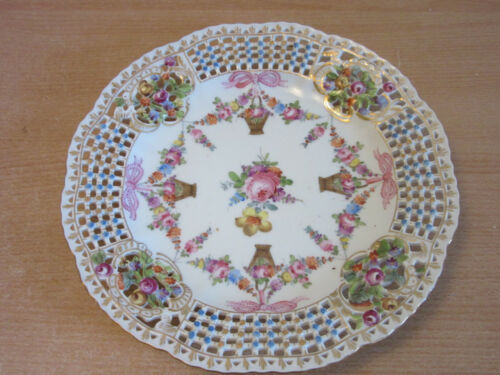 Antique Dresden Bavaria Germany reticulated floral basket cabinet plate 8.25""