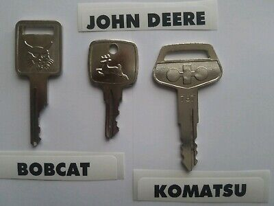 3 Heavy Equipment Key Set 3 Keys Bobcat Case John Deere Ar51481 Komatsu 787