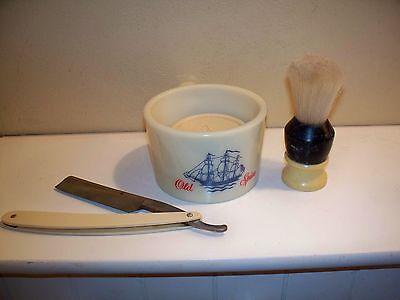 Vintage Old Spice Shaving Mug, Brush,Soap, Straight Razor