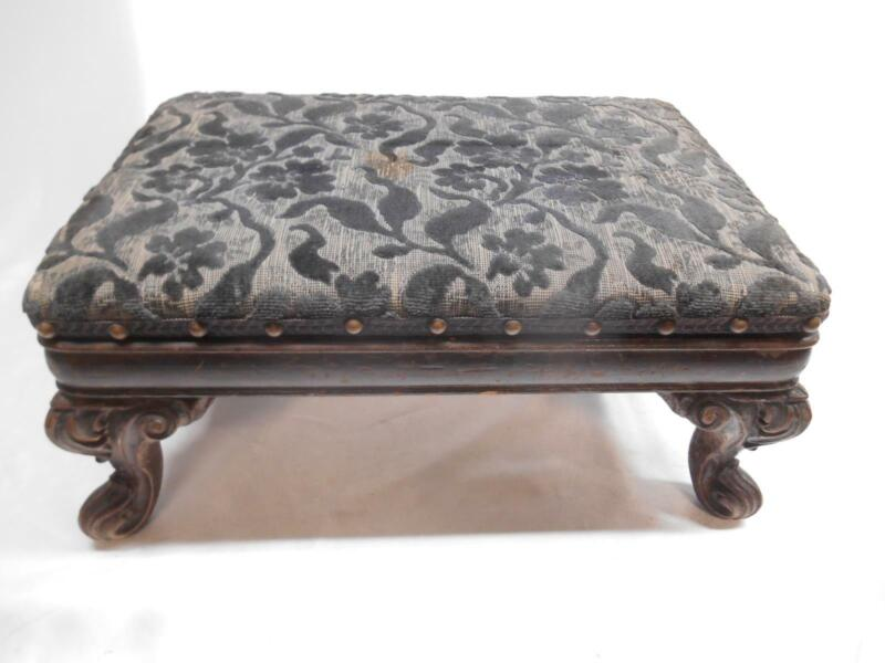 ANTIQUE CARVED WOOD FOOTSTOOL OTTOMAN STOOL SECRET COMPARTMENT POKER STORAGE Old