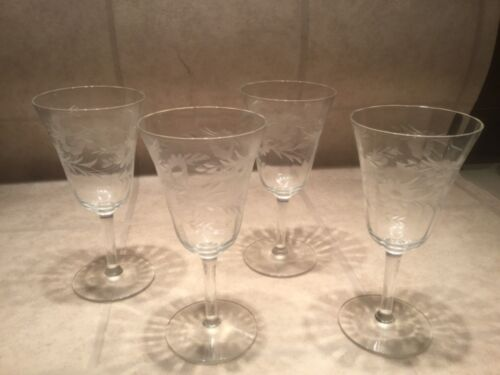 Vintage Floral Etched Wine Glasses, Set of 4, Antique Etched Wine Glasses