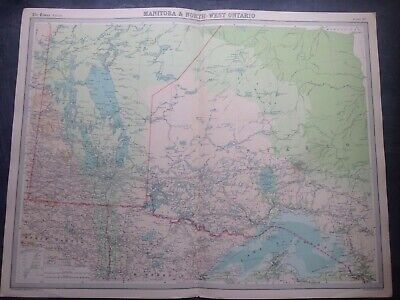 MANITOBA & NORTH EAST ONTARIO 1922 WORLD MAP,TIMES ATLAS,BARTHOLOMEW,EDINBURGH,