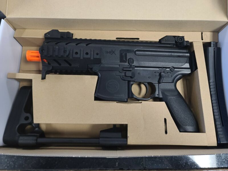 SIG Sauer MPX / P226 Airsoft Spring Powered PDW & Pistol Kit Black read descript