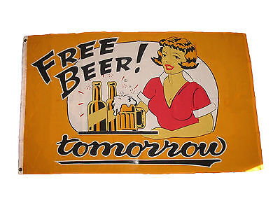 3'x5' Free Beer Tomorrow Flag College Party Games Drinks Out