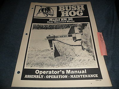 Drawer 6 Bush Hog Rear Mounted Blade Rm30 Rm 30 Operators Assembly Manual
