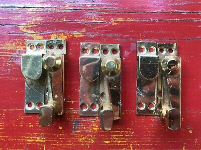 3 Vintage Brass Sash Window Locks - Reclaimed, Great Condition