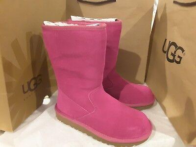 New UGGS Pink suede Lil Sunshine SHEEPSKIN BOOTS kids 3 women's 5