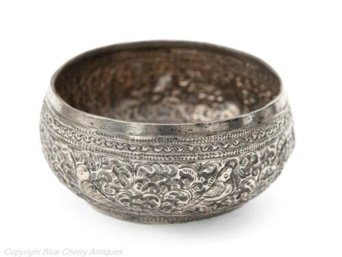 Antique Thai Siamese Silver Repousse Thabeik Bowl with Kanok & Birds
