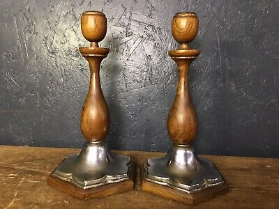 Pair Of Silver Plate Wooden Candlestick Holders.