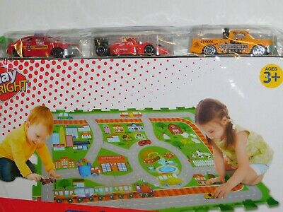 Small Toy Cars (Toy Die Cast 3 Cars w/ Small Town Play Mat)