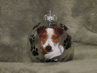 (HAND MADE JACK RUSSELL TERRIER GLASS CHRISTMAS ORNAMENT / BALL)