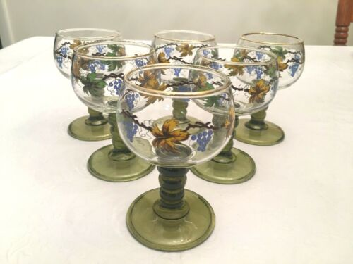 Vintage German Roemer Wine Glasses / Bubble Stems / Grape Vines / Gold Gilt (6)