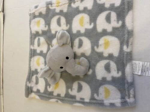 Swiggles Gray Yellow Elephant Security Blanket Plush Baby Lovey 12 x12  - $12.00