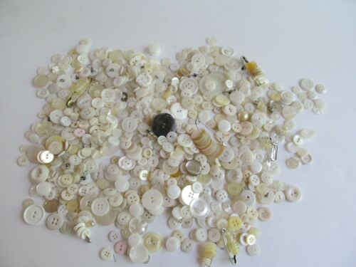 Vintage White Sewing Buttons For Crafts 14 Oz.