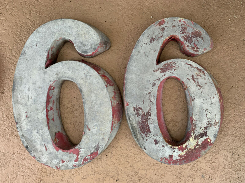 """Vintage Phillips 66 Gas Station Aluminum Numbers 21"""" Sign"""
