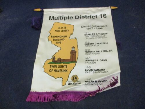 Vintage Lions Club Banner Flag 1998 New Jersey Navesink Multiple District 16