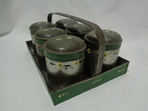 Antique Handpainted Toleware Tin Spice Handled Carrier & Cannisters Enamel