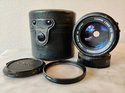 Canon FD 50mm f1.4 Lens w/ Case, Caps, Sky 1-A Filter