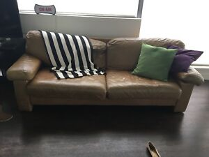 FREE - Brown Leather Couch