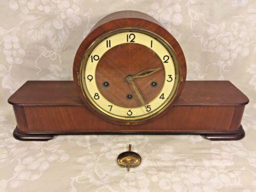 Vintage German Wood Case Mantel Clock by Forestville Westminster Chimes Runs