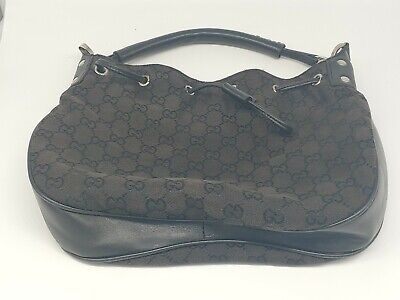 GUCCI Original GG Hand Bag Black Leather & cloth Vintage Italy Authentic