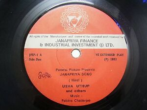 USHA-UTHUP-JFEP-1-JANAPRIYA-SONG-RED-RARE-SINGLE-7-45-RPM-INDIA-INDIAN-VG