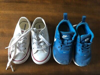 NIKE blue & CONVERSE white boys toddler shoes lot, size 6