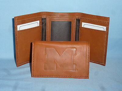 - MICHIGAN WOLVERINES   Leather TriFold Wallet    NEW    brown 2