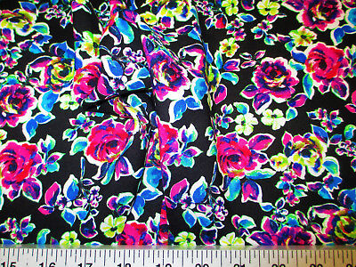 Discount Fabric Challis Rayon Apparel Pink Purple Green Rose Floral F205 - Pink Discount