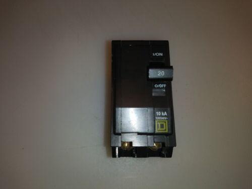 Square D QO220 20 amp 2 pole Type QO  Circuit Breaker YELLOW FACE WHITE AMP
