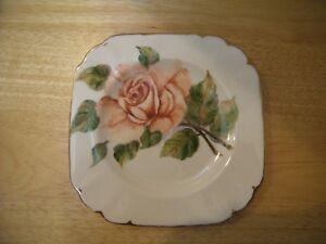 Tuscan Bone China Pink Rose Gold Trim Cake Pie Plate Dessert Dish Square 6.25