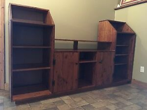 Solid wood pine entertainment stand