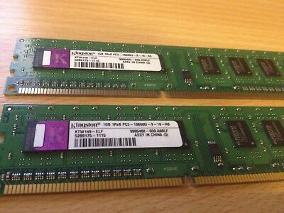 2GB (2x1GB) Kingston 1Rx8 PC3 10600U 1333mhz DDR3 RAM Desktop Memory Kit PC Pair