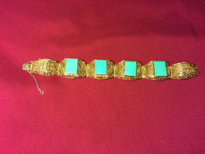 Antique Chinese Guilded Silver Filigree Turquoise Shou Panel Link Bracelet 55.2g