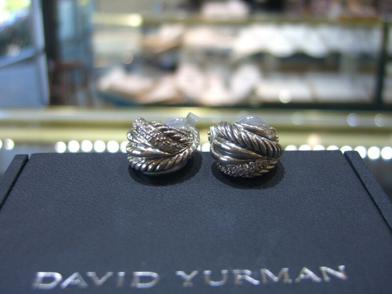New Designer David Yurman Diamond Sterling Silver Cable Earrings Retail $1,100