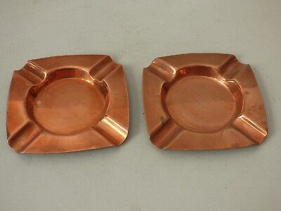 PAIR OLD BREWERIANA COPPER SMOKING TOBACCIANA ASHTRAYS BUY 1 GET 1 FREE UK P+P